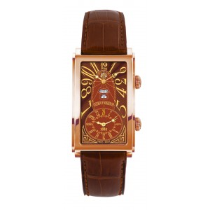 GOLD TOBACCO GUILLOCHE 1124.8ATG, DUAL TIME