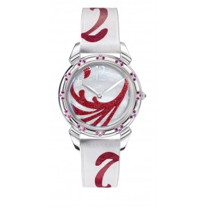 WHITE MOTHER OF PEARL WITH DIAMOND DUST RED 3112.1MA-R-I, LADY